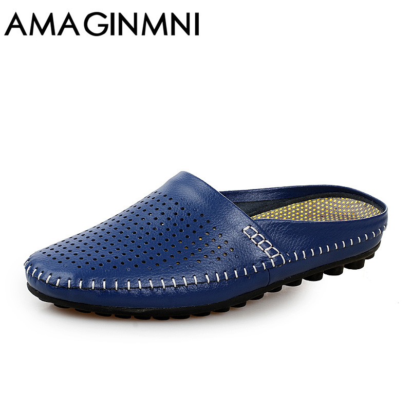 AMAGINMNI Summer Slippers Men 2018 New Hollow Out Breathable Beach Sandals Shoes men Casual Slip-on Flats Flip Flops zapatos
