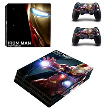 Iron Man Vinyl Game Protective Skin Sticker For Playstation 4 Pro Decal Cover Sticker For PS4 Pro Console+2 Controller Skins(China)