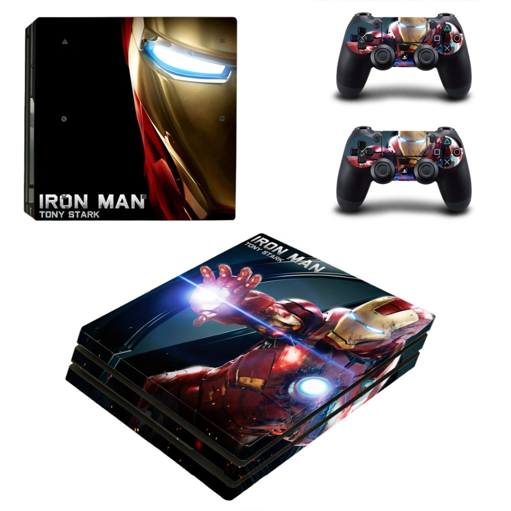 Iron Man Vinyl Game Protective Skin Sticker For Playstation 4 Pro Decal Cover Sticker For PS4 Pro Console+2 Controller Skins