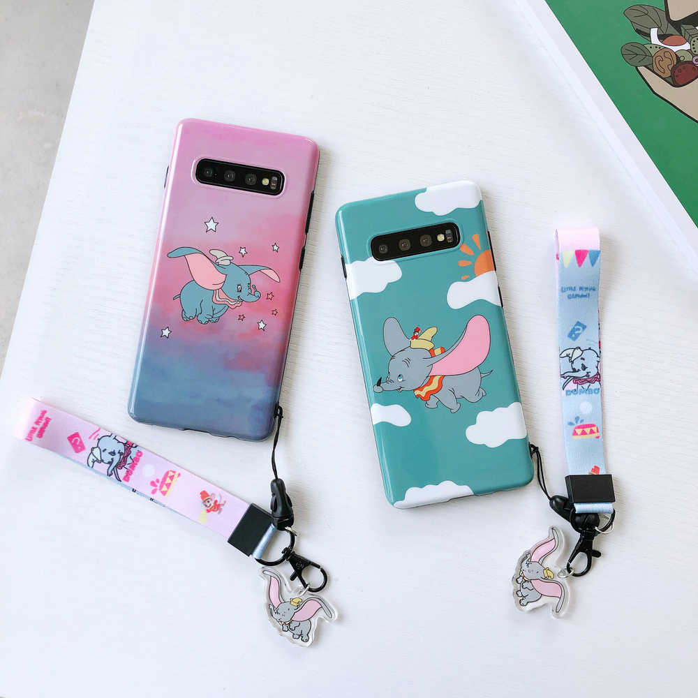 Cartoon S10 Plus Cute Dumbo Case Soft Phone Cases for Samsung Galaxy S9 plus S8 note 10 plus 9 8 Cover + Crystal Pendant Strap