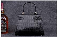 100% Crocodile Skin Belly  Women Handbag Shoulder Bag Genuine Crocodile Leather  Messenger tote Handbag  Black  color
