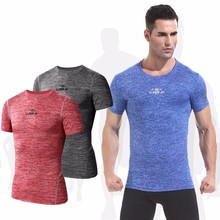 2017 Compression Shirt Short Sleeve Solid Running T-shirts Men Summer Fitness Male Quick Dry Bodybuilding Crossfit Tops M-2XL