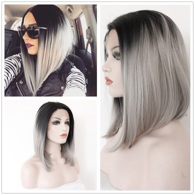 Dark Root Ombre Grey Bob Wig Black And Gray Lace Front Short Wigs