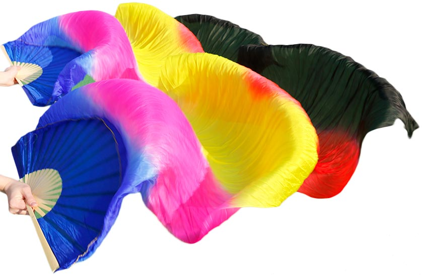 2016 High Quality Silk Belly Dance Fan Dance 100% Real Silk Veils Left+right Blue Colors SALE Royal Blue Rose Yellow Red Black