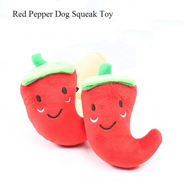 1 pc Frutta Verdura di Pollo Tamburo Bone Squeak Giocattolo Per Il Cane Cucciolo di Peluche Pepe Rosso Melanzana Ravanello Anatra Sounding Pet giocattoli