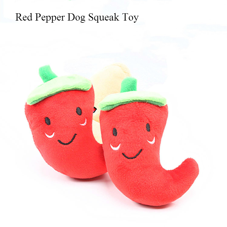 1pc Fruit Vegetable Chicken Drum Bone Squeak Toy For Dog Puppy Plush Red Pepper Eggplant Radish Duck Sounding Pet Toys #6