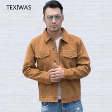 TEXIWAS Genuine Leather Jacket men Real cowhide Slim Casual coat button Soft Suede real Leather Motorcycle