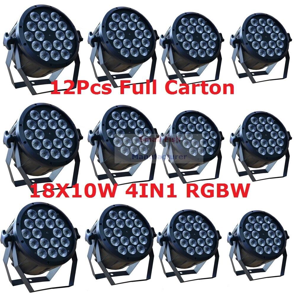 12 հատ հատ Led Par Light 18X10W 4in1 RGBW Led Slim Par Can Strobe Laser DMX DJ Disco Professional Stage Lights Sound Party Equipment
