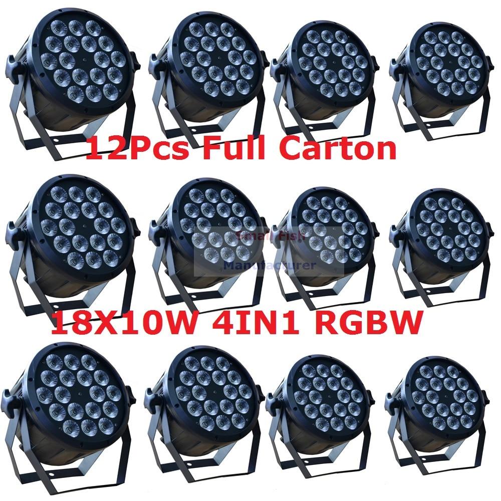 12kpl led-parivalo 18X10W 4in1 RGBW led-ohut par -lattialla voi olla Strobe-laser-DMX DJ Disco Professional -valolamppuvalot Sound Party -laitteet