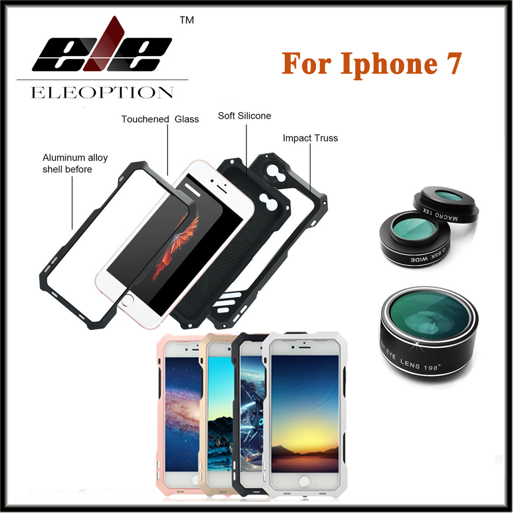 For iphone 7 Case Metal Aluminum ,Luxury Life Waterproof Dirt Shockproof Phone Cover For Iphone 7 4.7inch 3 in 1 With micro lens