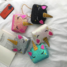 New Womens Mobile Phone Bag Cartoon Unicorn Zipper Female Messenger Shoulder Bags Cute Fashion Pu Leather Chain for Women