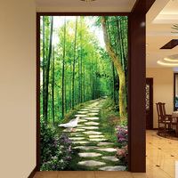 Custom size windows Glass Film Door Stickers Vintage 3D sticker Art opaque Self Adhesive OR static cling Bamboo forest