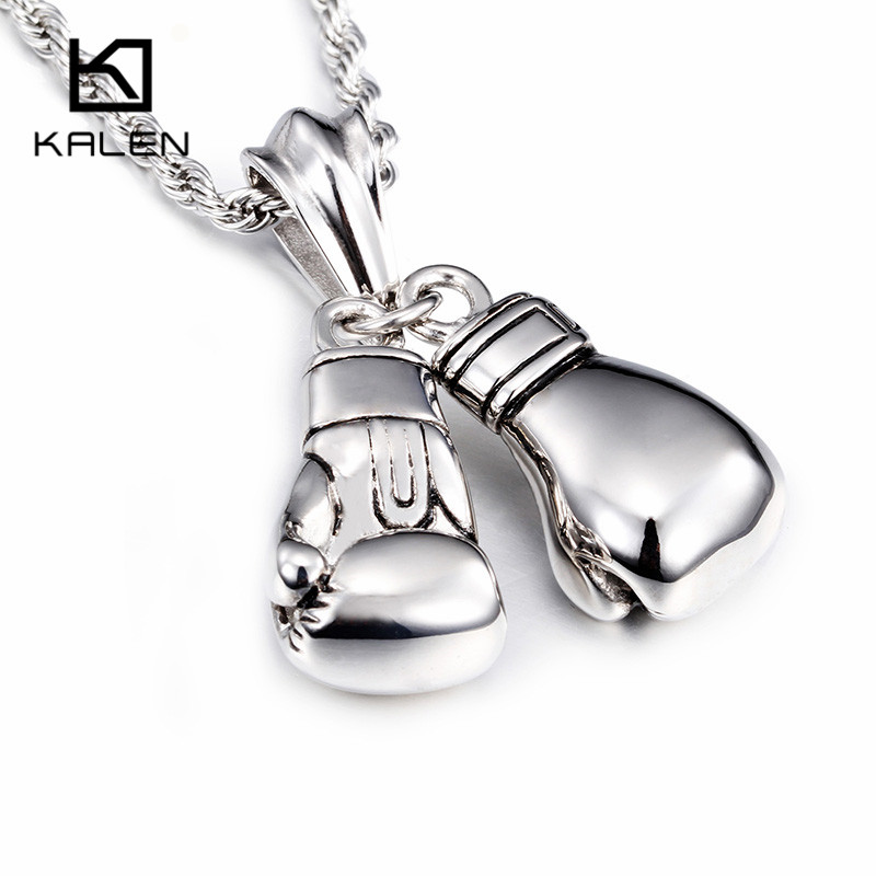 Kalen 2019 New Design Stainless Steel Power Boxing Fist 펜 던 트 Necklace 패션 칼라 몸 긴 체인 Necklaces