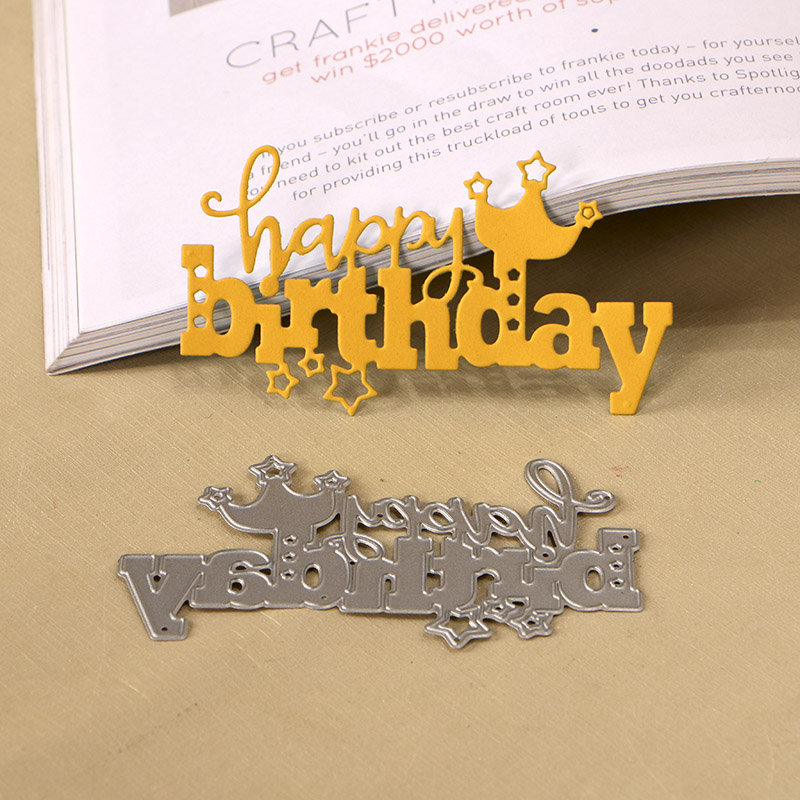 DUOFEN METAL CUTTING DIES 120278 Happy Birthday cutout lace hollow embossing stencil DIY Scrapbook Paper Album 2018 Jun new in Cutting Dies from Home Garden