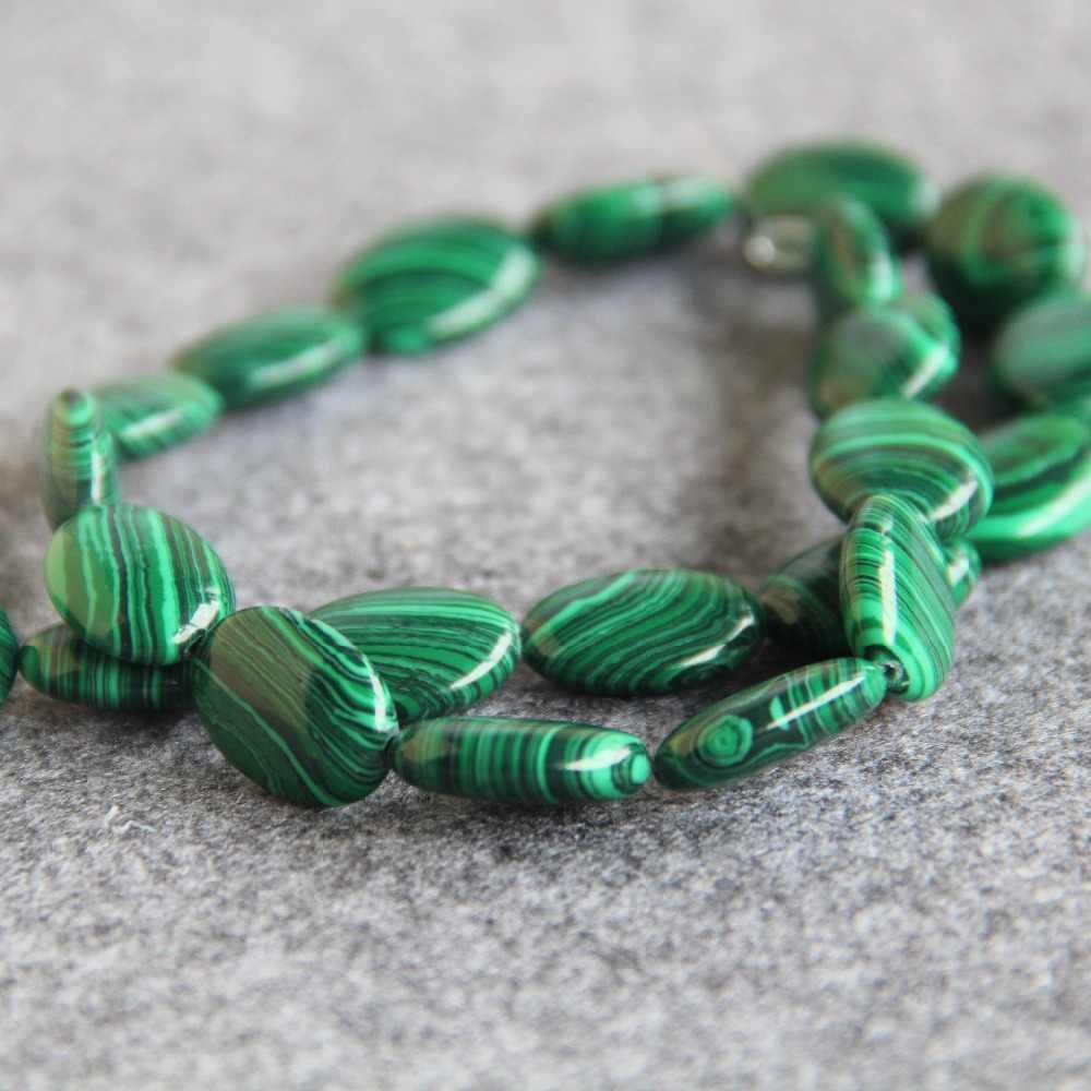 Лидер продаж для Цепочки и ожерелья и браслет 13*18 мм натуральный зеленый Турция Малахит Бусины полоса DIY Натуральный камень свободные Бусины Для женщин ювелирные изделия 15 дюймов