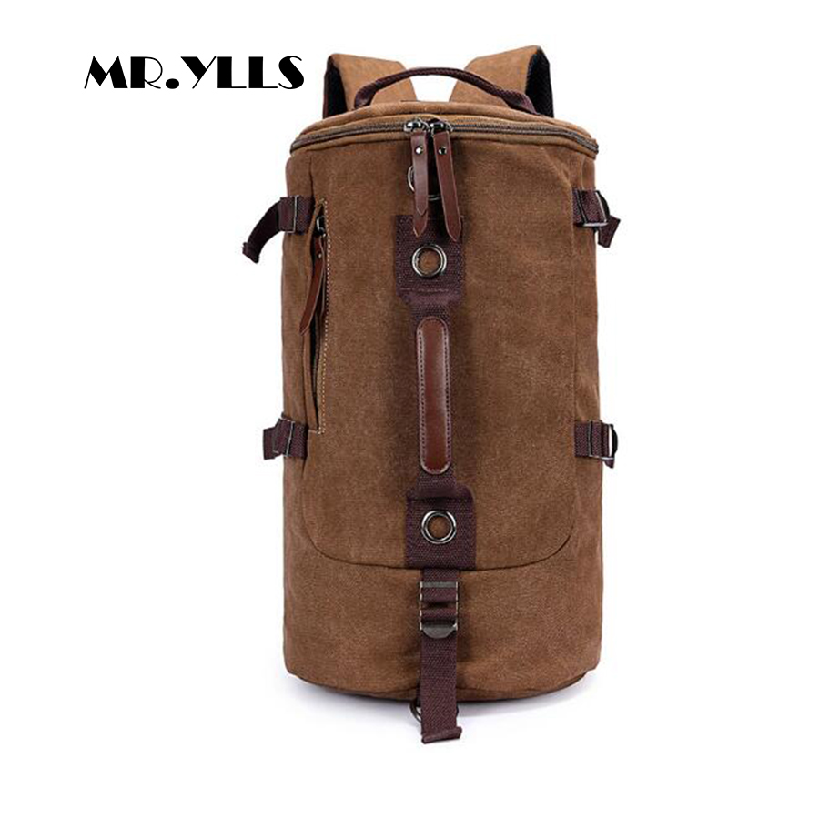 MR.YLLS Brand Travel Bags Men High Capacity Backapck Male Bucket Bags Fashion Vintage Bag Male Men Canvas Bags Black 2017