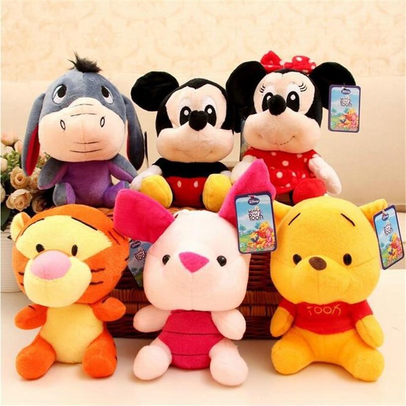 Disney Mickey Mouse Minnie Stuffed Animals 20 CM Cute Stitch Doll Lilo And Stitch Plush Toys Doll Children Toys Birthday Gifts
