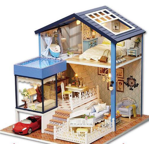 Aliexpress Com Buy Diy Wooden Doll House Miniatura 3d Model Kits