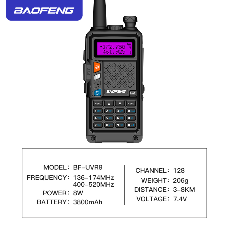 Image 2 - 2019 original BAOFENG BF R9 8W High Power UHF/VHF Dual Band 10KM Long Range Walkie Talkie 3800mAh Battery Handheld Radio-in Walkie Talkie from Cellphones & Telecommunications