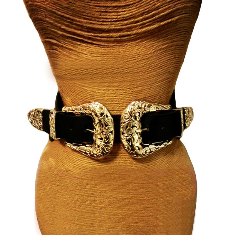2017 μόδα γυναικεία vintage λουράκι μέταλλο πόρπη πόρπη δερμάτινη ζώνες ελαστική σχεδιαστής σέξι κοίλο έξω ευρεία ζώνη μέσης Για τις γυναίκες