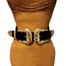 Ceinture en cuir pour femmes, Vintage, élastique, avec boucle ardillon en métal, ajourée, de styliste, taille large, tendance 2020
