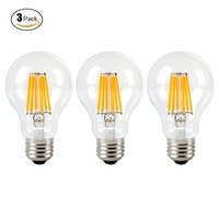 3Pcs Pack 6W 120V A19 LED Filament Light Bulb Edison Style E27 60 Watt Incandescent Bulb