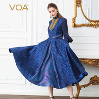 VOA Heavy Silk Brocade Pearl Buttons Dress Women Plus Size 5XL Slim Tunic Pleated Lantern Long Sleeve Spring Blue Vintage A315