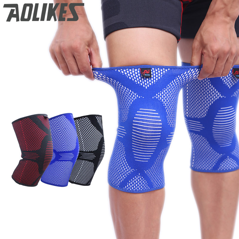 AOLIKES Нейлоновые эластичные баскетбольные наколенники для волейбола Коленная опора с длинным рукавом Спортивный наколенник Здоровый уход за ногой wamer