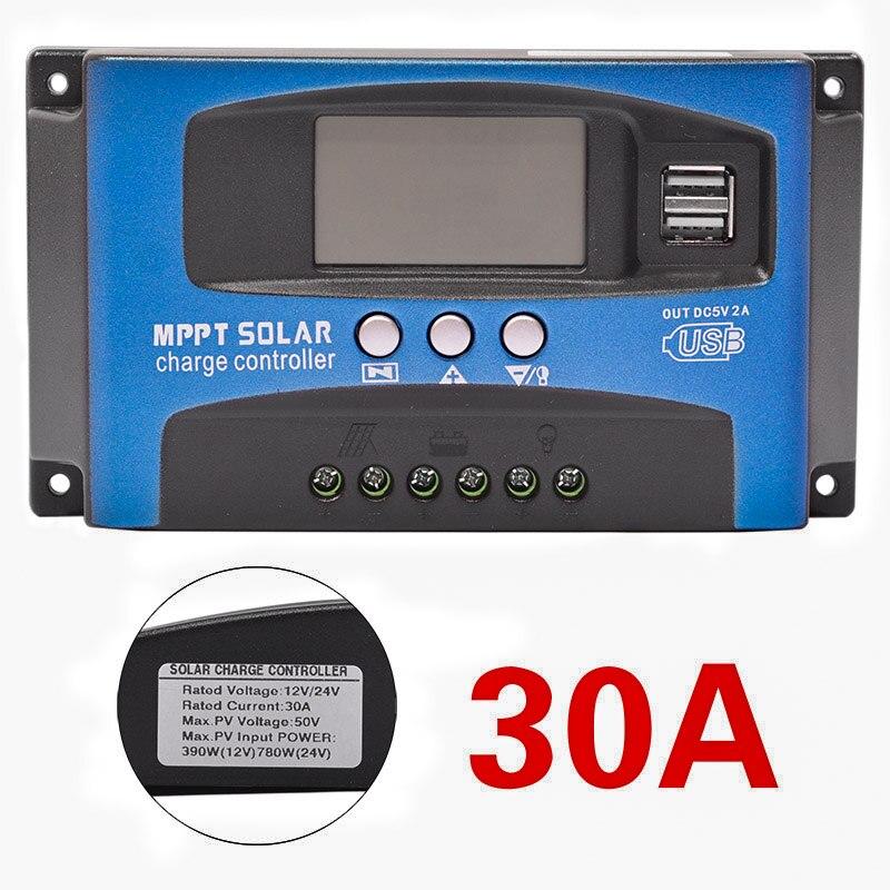30/40/50/60/100A Regulator ładowania słonecznego MPPT podwójny wyświetlacz LCD USB 12V 24V automatyczna ładowarka z panelem solarnym Regulator z obciążeniem