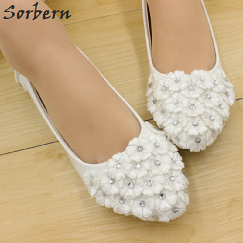 Heels Or Flats For Wedding: Sorbern White Cute Flowers Appliques Wedding Shoes Flat