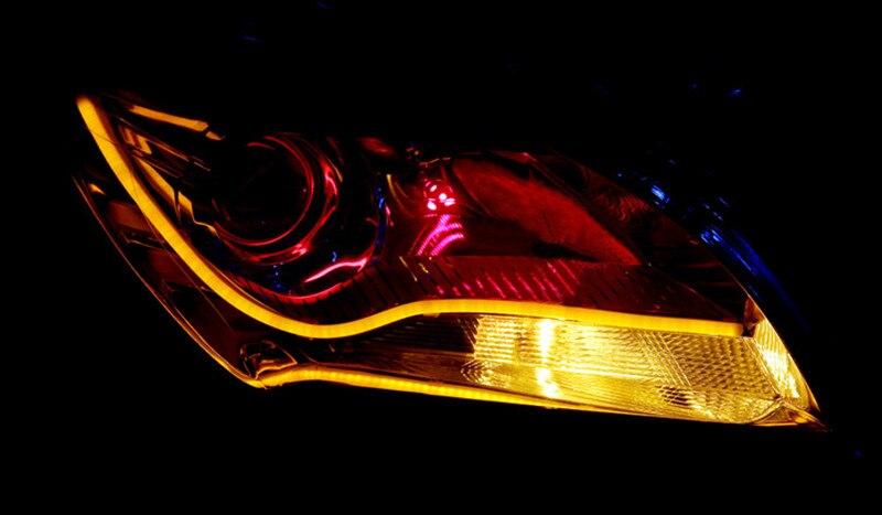 2×45 см днем Бег свет Universial мягкие гибкие трубы руководство автомобиля Светодиодные ленты Белый DRL и желтый сигнал поворота свет