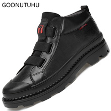 Winter ankle boots snow men's shoes genuine leather cow classic black short boot male big size shoe footwear work boots for men цены онлайн