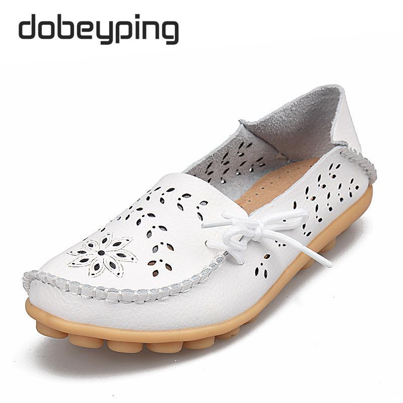 Frauen Casual Schuhe Aus Echtem Leder Frau Müßiggänger Slip-On - Damenschuhe - Foto 5