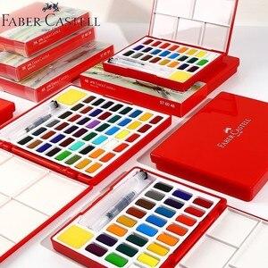 Image 5 - Faber Castell 24/36/48 Colori Solido Set Pittura Ad Acquerello pennello di acqua di Colore Brillante Portatile Acquerello Pigmento contenitore di regalo