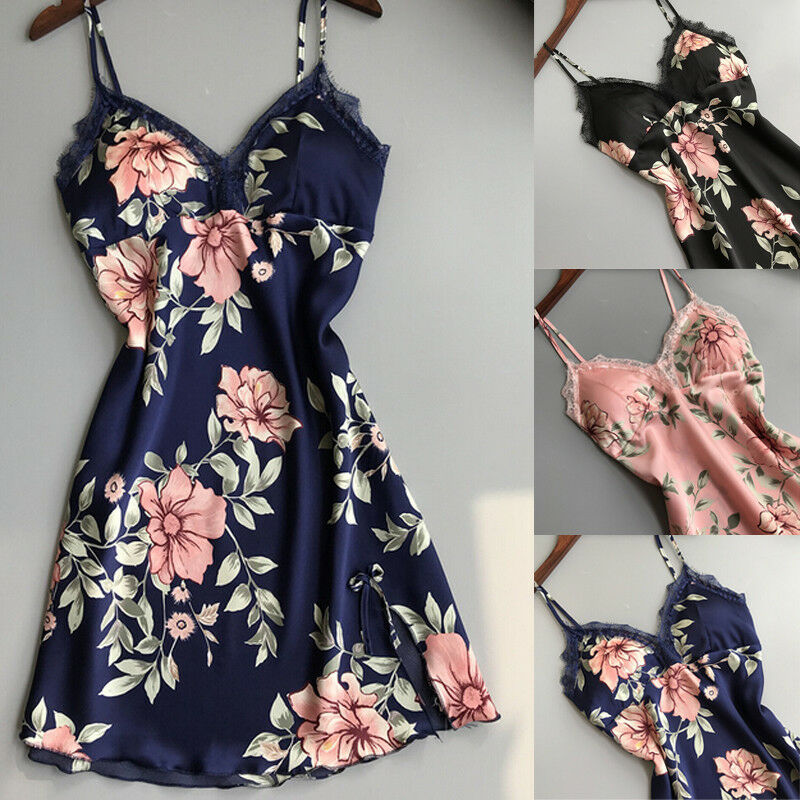 Meihuida 2019 Hot Womens Lace Floral Silk Gown Sleeveless Nightie Sexy Sleepwear Nightdress Sleeping Dresses