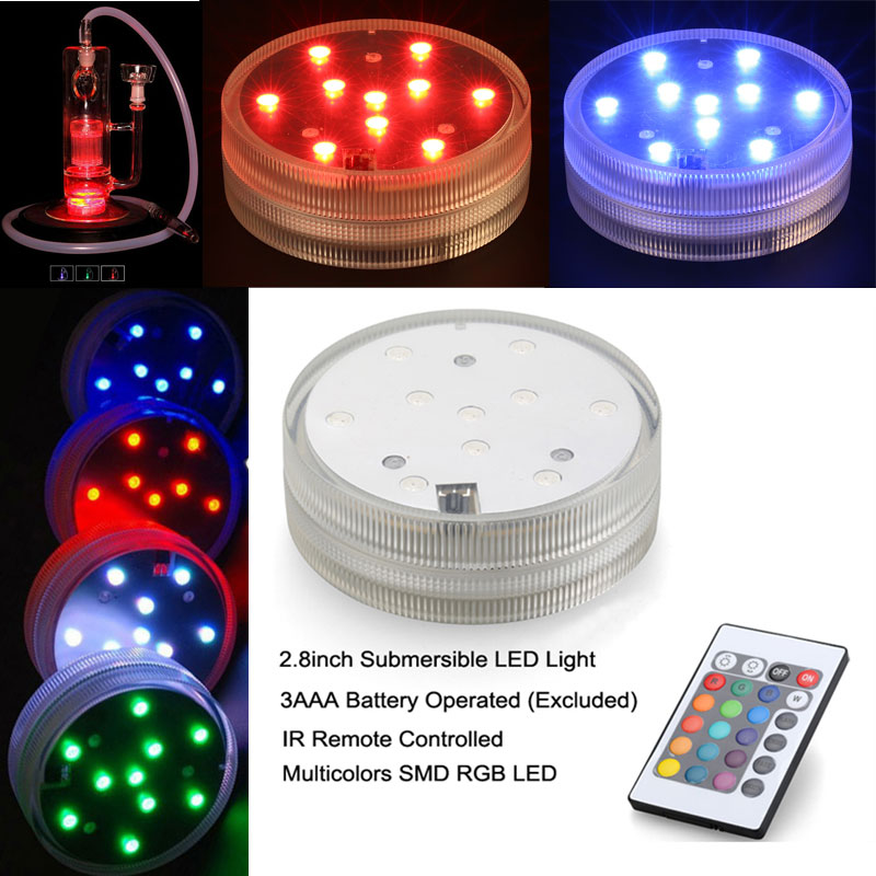 Free DHL Weddings events light Led Vase Base light Rgb Color Changing with 24keys Remote Control