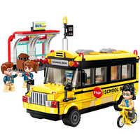ENLIGHTEN 1136 City School Bus Car Bicycle Station Building Blocks Brick Compatible Technic Playmobil Toys For Children