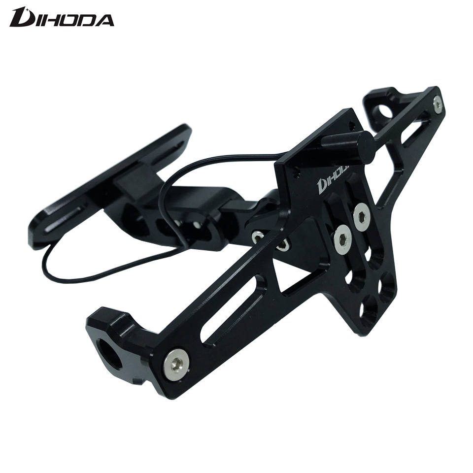 Motorcycle Adjustable CNC Aluminum alloy Rear License Plate Bracket with White LED Light for Honda Kawasaki Yamaha KTM Suzuki for ktm 390 duke motorcycle leather pillon passenger rear seat black color