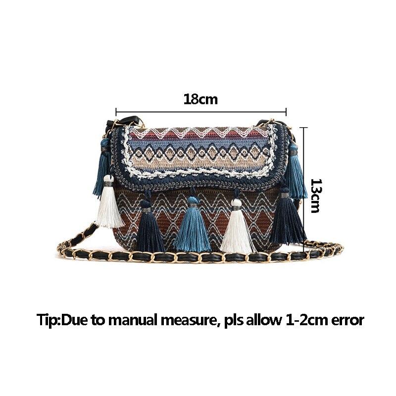 New Women Tassel Fashion Straw Bag INS Popular Female Summer Handbag Chains Lady Casual Shoulder Bag Beach Knit Crossbody SS3307 (6)