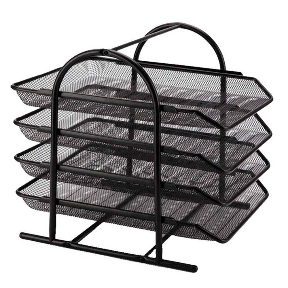 4-Tier File Rack Metal Mesh Letter Tray Scratch-Resistant Stackable Office A4 Paper Organizer Document File Holder U17@Z (2)