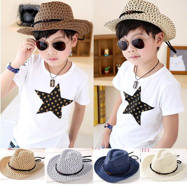 a0705b9cf Hand woven children's cowboy hat leisure jazz hat New fashion baby sun  beach hat Kids summer cool straw hats cap