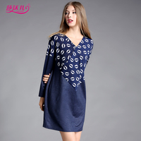 69a2dcc8c23 SAVOIL 2017 New Autumn Women European Casual Navy Blue Patchwork Kiss Lips  Straight Dresses Long Sleeves