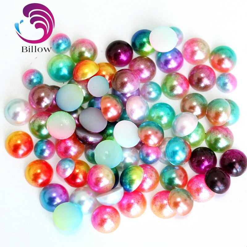 100PCS//500PCS//1000PCS Half Pearl Beads Flat Back for Craft FlatBack Gold 8MM