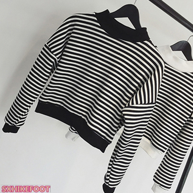 5b939abe7bb SXHIKEFOOT!!! New women navy striped long sleeve loose O round neck ...
