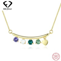 Crystal Element Opal Necklace for Women Style Sterling Silver 925 Long Round bead chain Clavicle Geometric colar