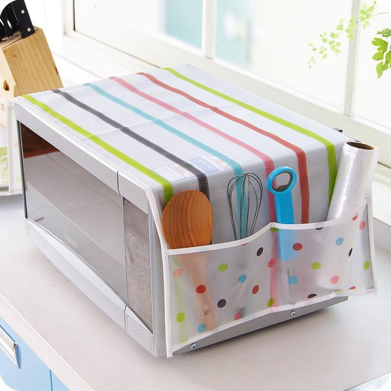 Adeeing Exquisite Microwave Oven Cover With 2 Pockets Waterproof Oil-proof Oven Cover Kitchen Supplies For Home