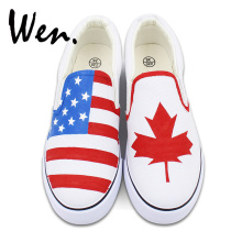 Wen Hand Painted White Slip On Shoes Custom Design American Flag Canada Flag Maple Leaf Man Woman' Canvas Sneakers(China)