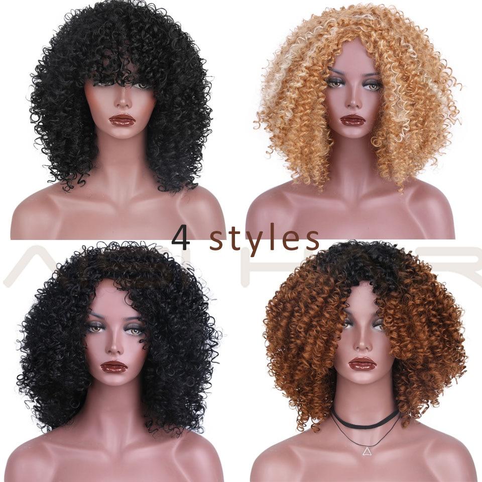 AISI HAIR Afro Kinky Curly Wig Syntetiska Paryk till Svart Kvinnor - Syntetiskt hår - Foto 2