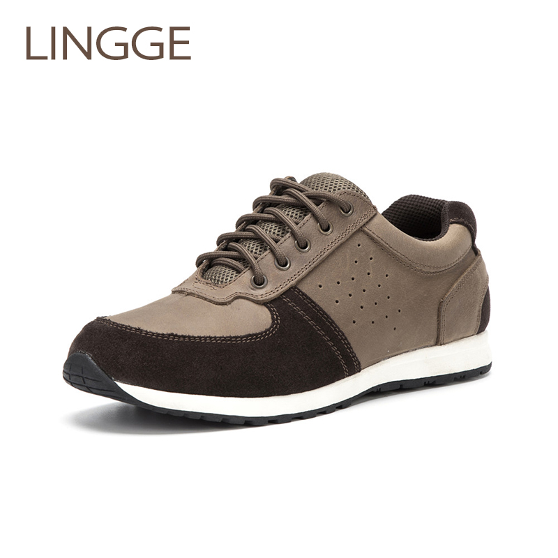 LINGGE New Arrival Men Shoes Stitching Casual Shoes Genuine Leather Breathable Shoes Autumn And Winter Style