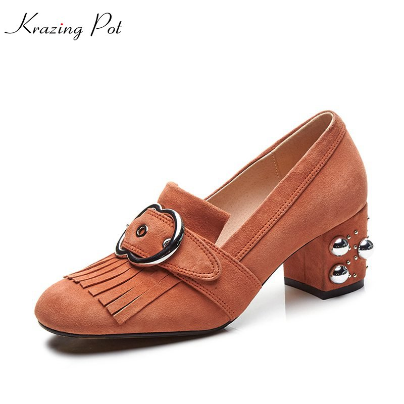 Krazing Pot kid suede metal decorations rivet high heels slip on runway women pumps party tassel round toe office lady shoes L33 2017 shoes women med heels tassel slip on women pumps solid round toe high quality loafers preppy style lady casual shoes 17